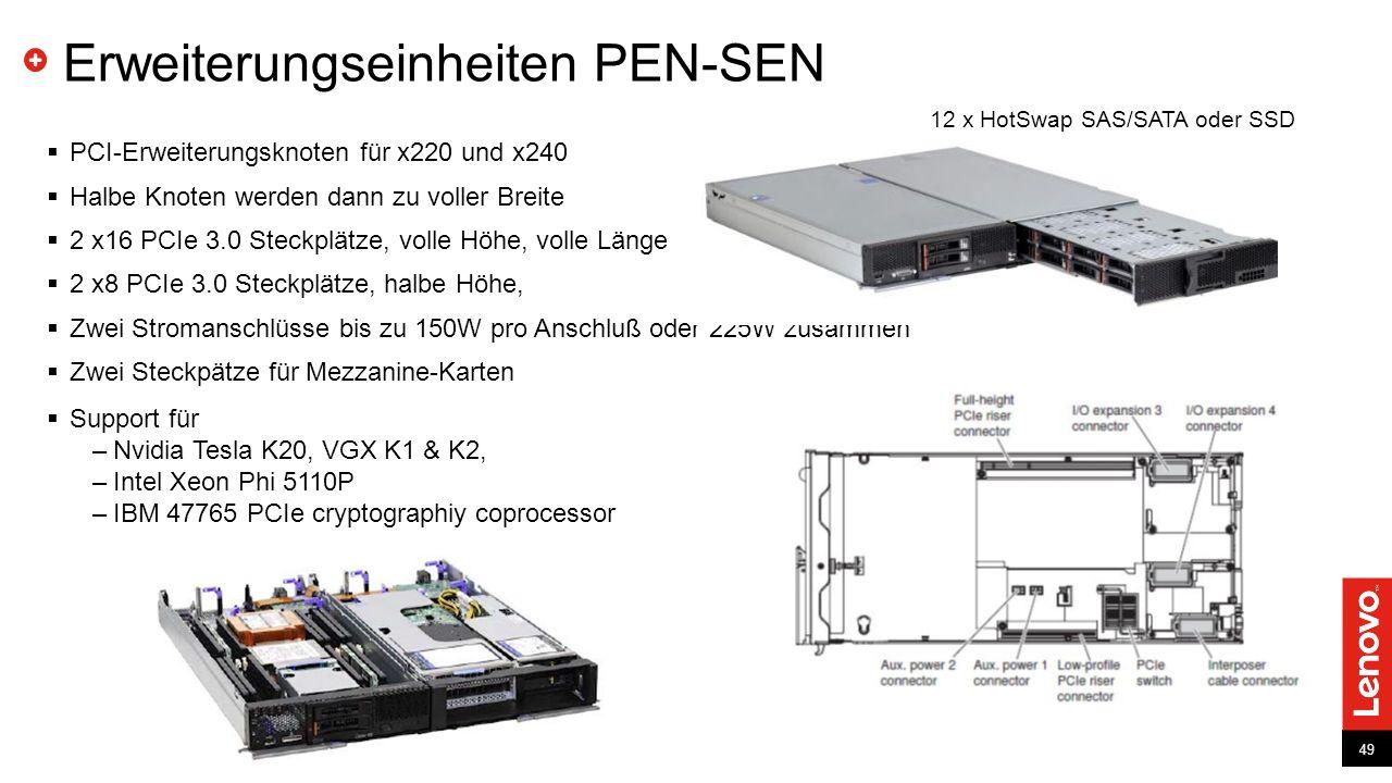 49 Erweiterungseinheiten PEN-SEN  PCI-Erweiterungsknoten für x220 und x240  Halbe Knoten werden dann zu voller Breite  2 x16 PCIe 3.0 Steckplätze, volle Höhe, volle Länge  2 x8 PCIe 3.0 Steckplätze, halbe Höhe,  Zwei Stromanschlüsse bis zu 150W pro Anschluß oder 225W zusammen  Zwei Steckpätze für Mezzanine-Karten  Support für –Nvidia Tesla K20, VGX K1 & K2, –Intel Xeon Phi 5110P –IBM 47765 PCIe cryptographiy coprocessor 12 x HotSwap SAS/SATA oder SSD