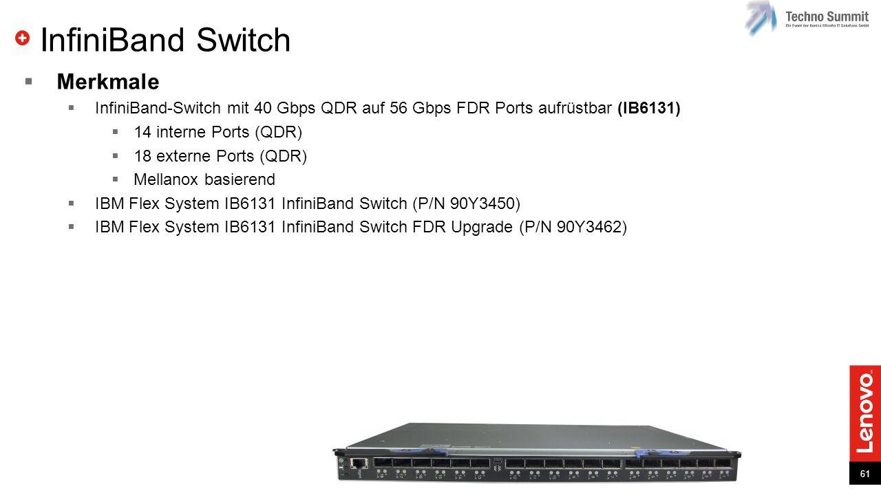 61 InfiniBand Switch  Merkmale  InfiniBand-Switch mit 40 Gbps QDR auf 56 Gbps FDR Ports aufrüstbar (IB6131)  14 interne Ports (QDR)  18 externe Po