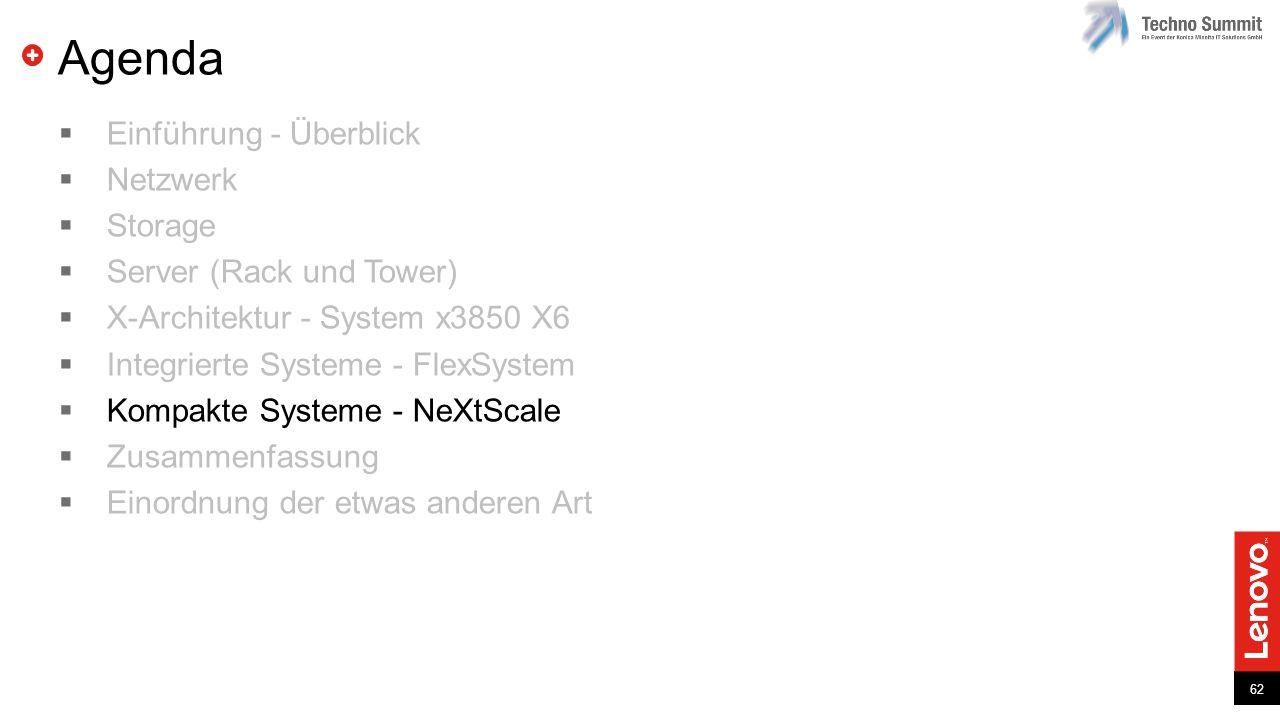 62 Agenda  Einführung - Überblick  Netzwerk  Storage  Server (Rack und Tower)  X-Architektur - System x3850 X6  Integrierte Systeme - FlexSystem  Kompakte Systeme - NeXtScale  Zusammenfassung  Einordnung der etwas anderen Art