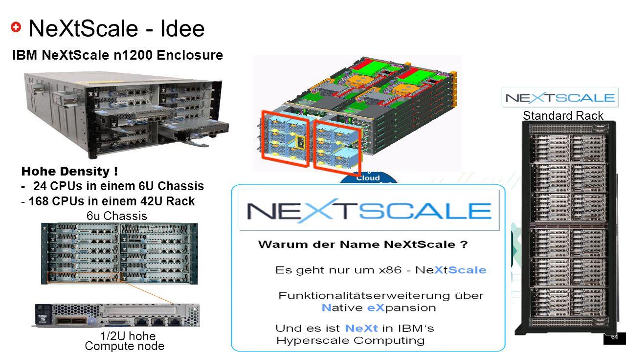 64 NeXtScale - Idee IBM NeXtScale n1200 Enclosure 6u Chassis Compute node 1/2U hohe Standard Rack Hohe Density ! - 24 CPUs in einem 6U Chassis - 168 C