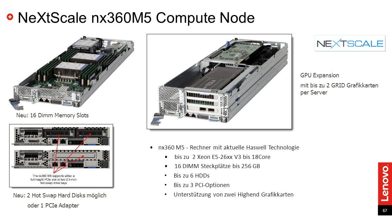 67 NeXtScale nx360M5 Compute Node 67 Neu: 16 Dimm Memory Slots Neu: 2 Hot Swap Hard Disks möglich oder 1 PCIe Adapter GPU Expansion mit bis zu 2 GRID Grafikkarten per Server nx360 M5 - Rechner mit aktuelle Haswell Technologie bis zu 2 Xeon E5-26xx V3 bis 18Core 16 DIMM Steckplätze bis 256 GB Bis zu 6 HDDs Bis zu 3 PCI-Optionen Unterstützung von zwei Highend Grafikkarten
