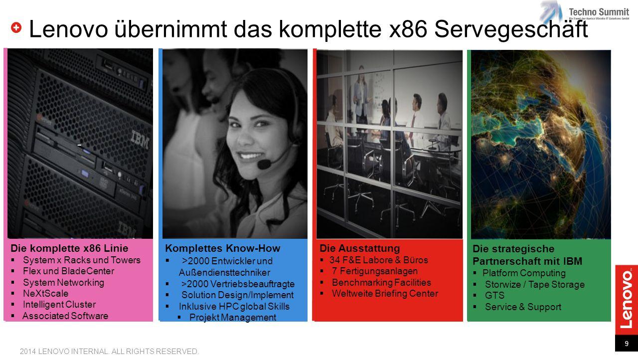 9 2014 LENOVO INTERNAL. ALL RIGHTS RESERVED. Lenovo übernimmt das komplette x86 Servegeschäft - Die komplette x86 Linie  System x Racks und Towers 