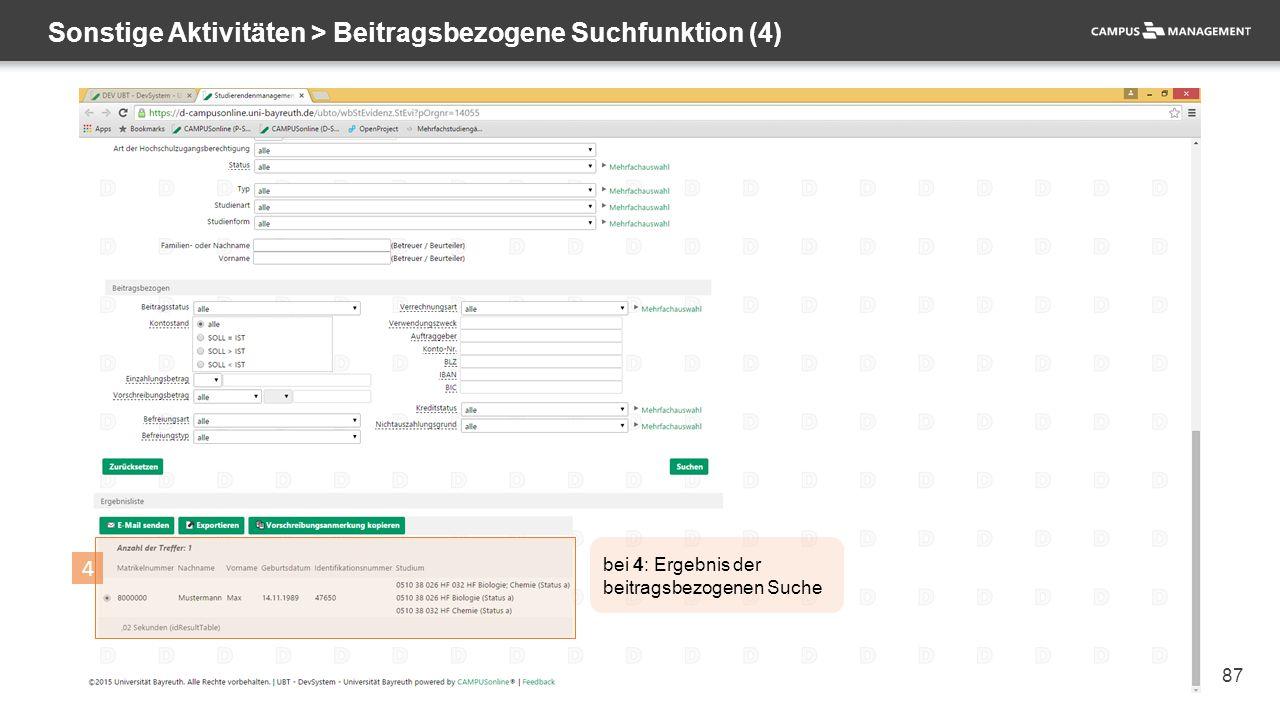 87 Sonstige Aktivitäten > Beitragsbezogene Suchfunktion (4) 4 bei 4: Ergebnis der beitragsbezogenen Suche