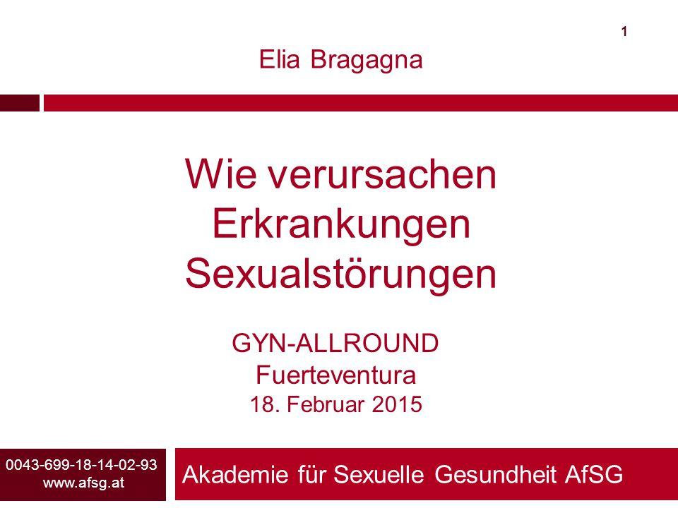 Akademie für Sexuelle Gesundheit AfSG 1 0043-699-18-14-02-93 www.afsg.at Elia Bragagna Wie verursachen Erkrankungen Sexualstörungen GYN-ALLROUND Fuert