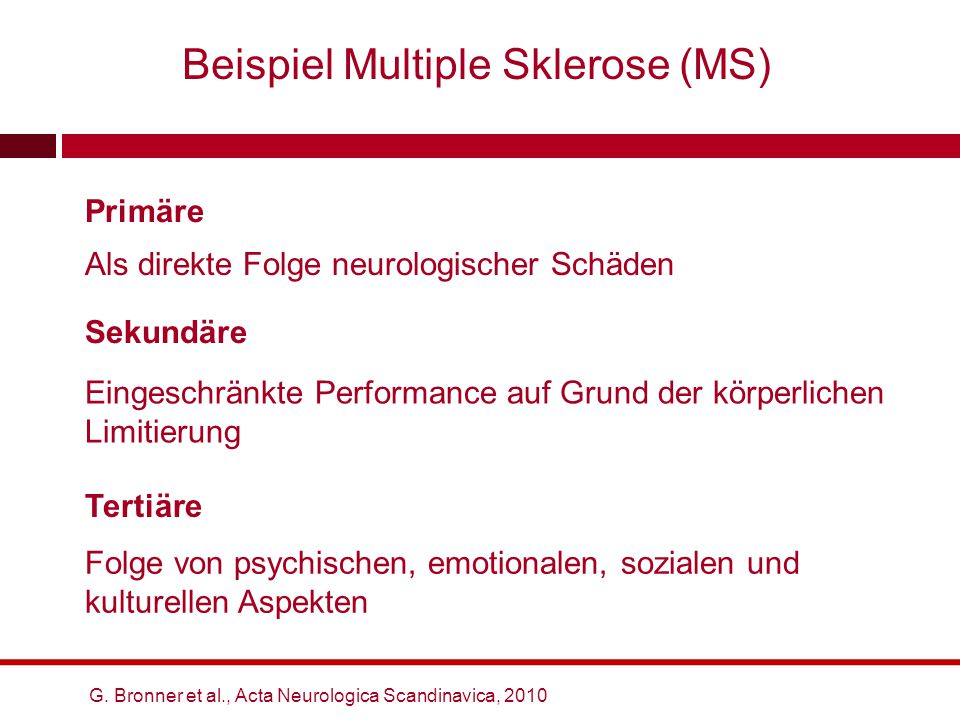 Beispiel Multiple Sklerose (MS) G. Bronner et al., Acta Neurologica Scandinavica, 2010 Sekundäre Folge von psychischen, emotionalen, sozialen und kult