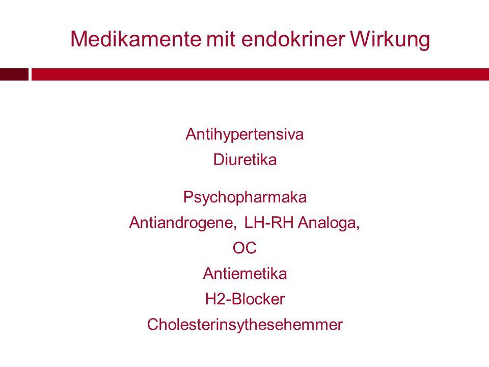 Medikamente mit endokriner Wirkung Antihypertensiva Diuretika Psychopharmaka Antiandrogene, LH-RH Analoga, OC Antiemetika H2-Blocker Cholesterinsythes