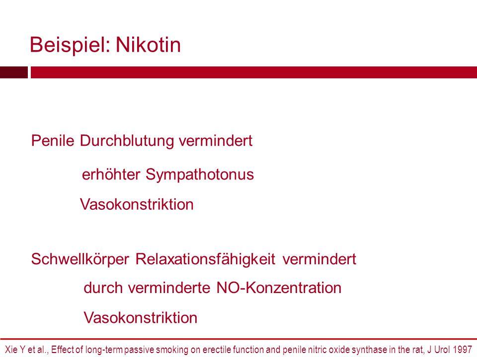 Beispiel: Nikotin Penile Durchblutung vermindert erhöhter Sympathotonus Vasokonstriktion Xie Y et al., Effect of long-term passive smoking on erectile