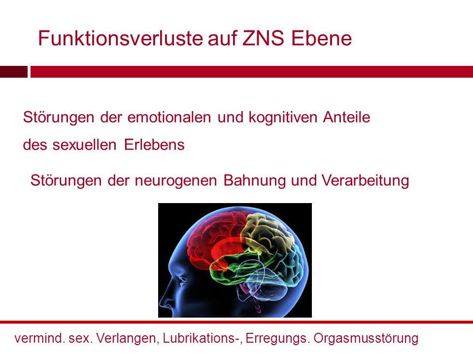 Funktionsverluste auf ZNS Ebene Störungen der emotionalen und kognitiven Anteile des sexuellen Erlebens Störungen der neurogenen Bahnung und Verarbeit