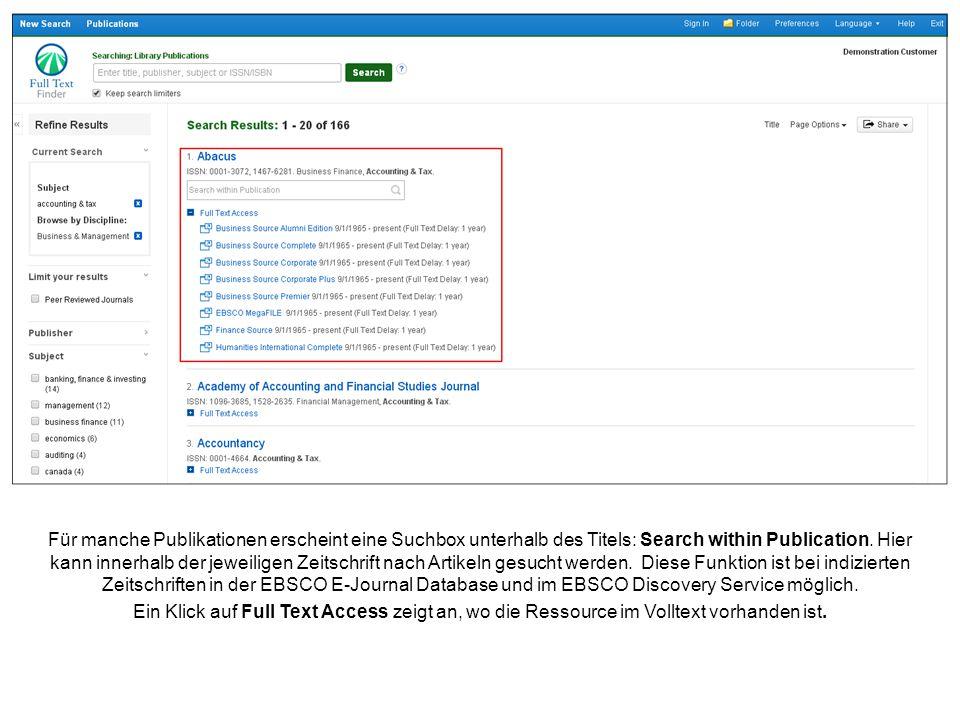 Für manche Publikationen erscheint eine Suchbox unterhalb des Titels: Search within Publication.