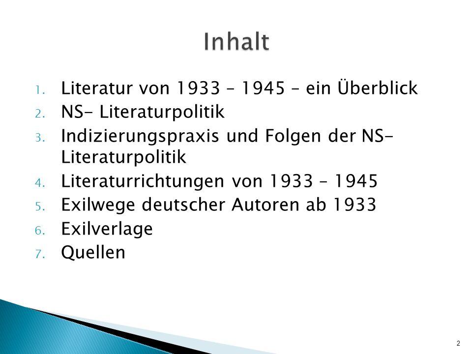 1.Literatur von 1933 – 1945 – ein Überblick 2. NS- Literaturpolitik 3.