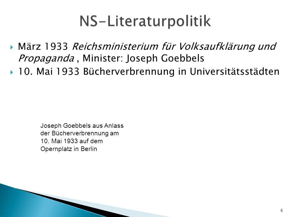  März 1933 Reichsministerium für Volksaufklärung und Propaganda, Minister: Joseph Goebbels  10.