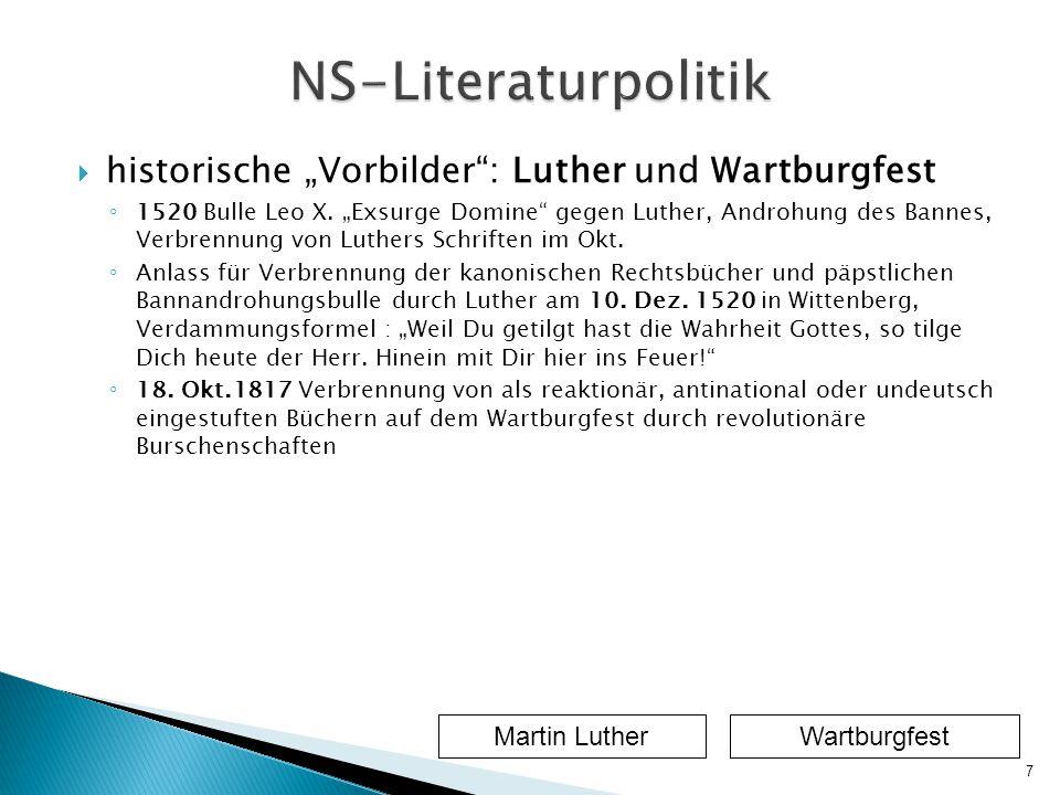 """ historische """"Vorbilder : Luther und Wartburgfest ◦ 1520 Bulle Leo X."""