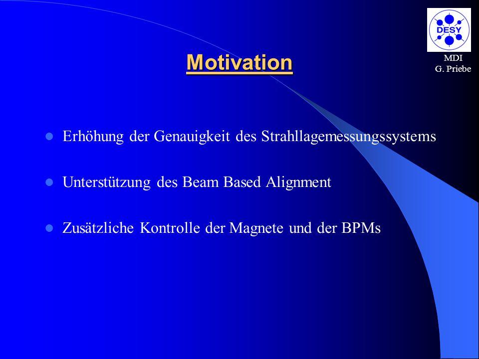 MDI G. Priebe Motivation Erhöhung der Genauigkeit des Strahllagemessungssystems Unterstützung des Beam Based Alignment Zusätzliche Kontrolle der Magne