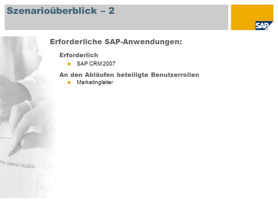 Szenarioüberblick – 2 Erforderlich SAP CRM 2007 An den Abläufen beteiligte Benutzerrollen Marketingleiter Erforderliche SAP-Anwendungen: