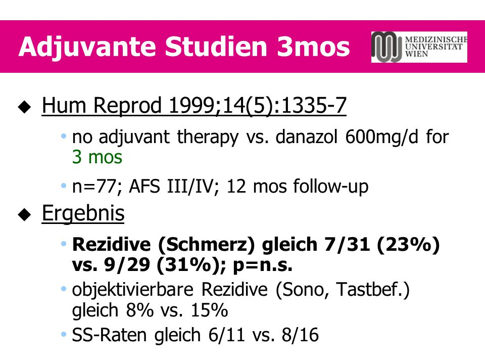 Adjuvante Studien 3mos  Hum Reprod 1999;14(5):1335-7  no adjuvant therapy vs. danazol 600mg/d for 3 mos  n=77; AFS III/IV; 12 mos follow-up  Ergeb