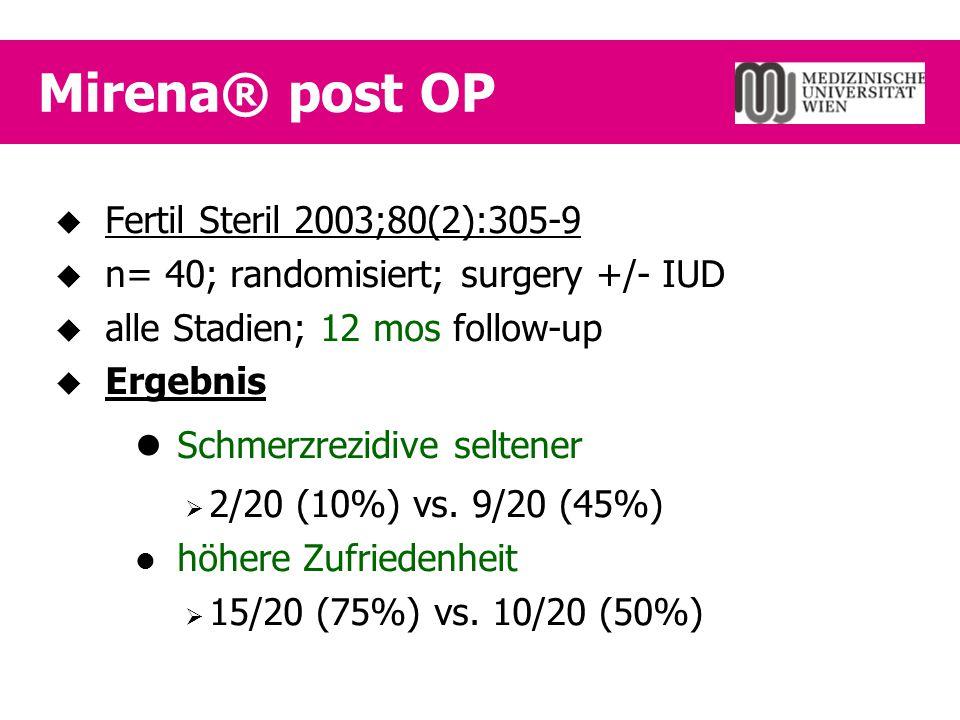 Mirena® post OP  Fertil Steril 2003;80(2):305-9  n= 40; randomisiert; surgery +/- IUD  alle Stadien; 12 mos follow-up  Ergebnis Schmerzrezidive se
