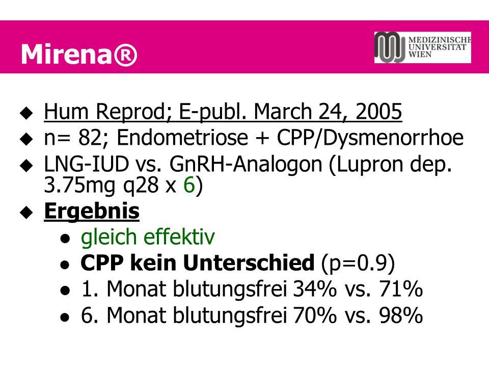 Mirena®  Hum Reprod; E-publ. March 24, 2005  n= 82; Endometriose + CPP/Dysmenorrhoe  LNG-IUD vs. GnRH-Analogon (Lupron dep. 3.75mg q28 x 6)  Ergeb