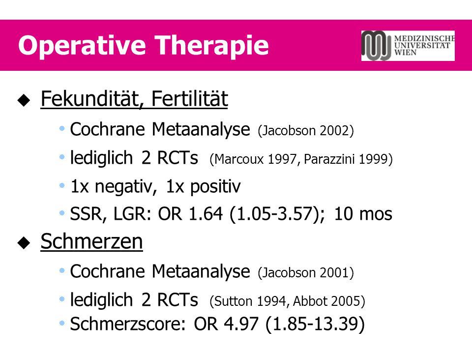 Operative Therapie  Fekundität, Fertilität  Cochrane Metaanalyse (Jacobson 2002)  lediglich 2 RCTs (Marcoux 1997, Parazzini 1999)  1x negativ, 1x