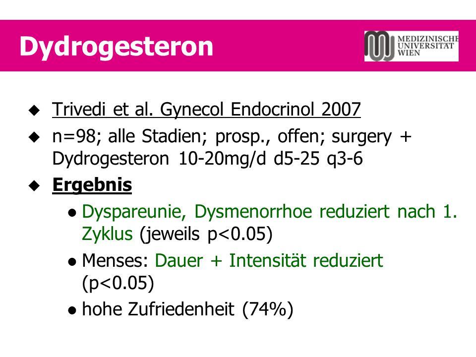 Dydrogesteron  Trivedi et al. Gynecol Endocrinol 2007  n=98; alle Stadien; prosp., offen; surgery + Dydrogesteron 10-20mg/d d5-25 q3-6  Ergebnis Dy