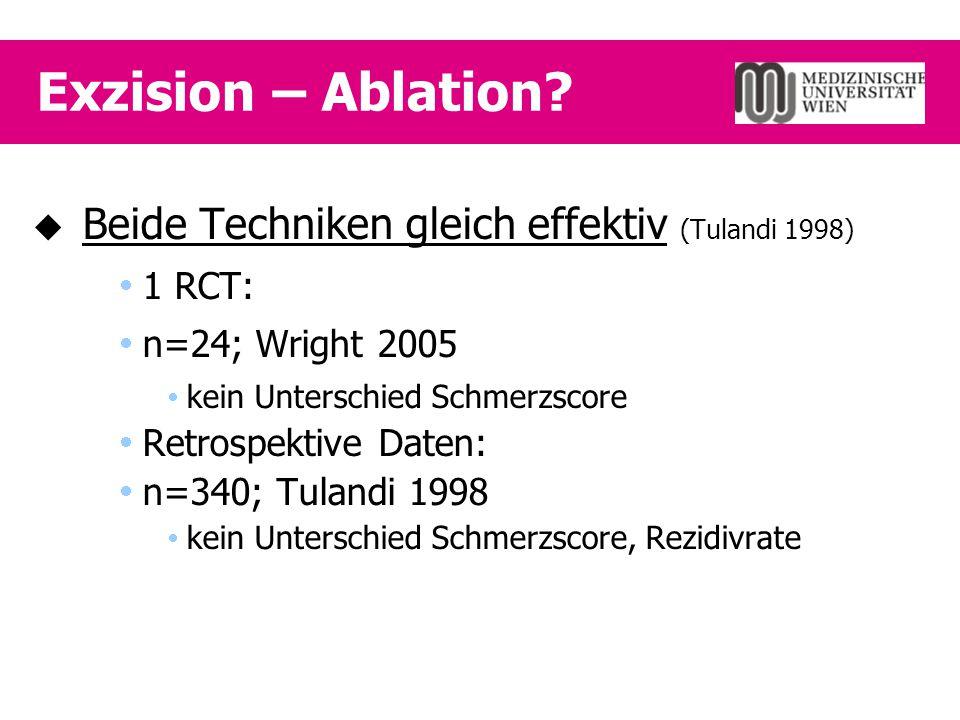 Exzision – Ablation?  Beide Techniken gleich effektiv (Tulandi 1998)  1 RCT:  n=24; Wright 2005  kein Unterschied Schmerzscore  Retrospektive Dat
