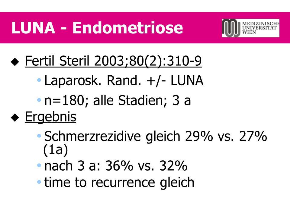 LUNA - Endometriose  Fertil Steril 2003;80(2):310-9  Laparosk. Rand. +/- LUNA  n=180; alle Stadien; 3 a  Ergebnis  Schmerzrezidive gleich 29% vs.
