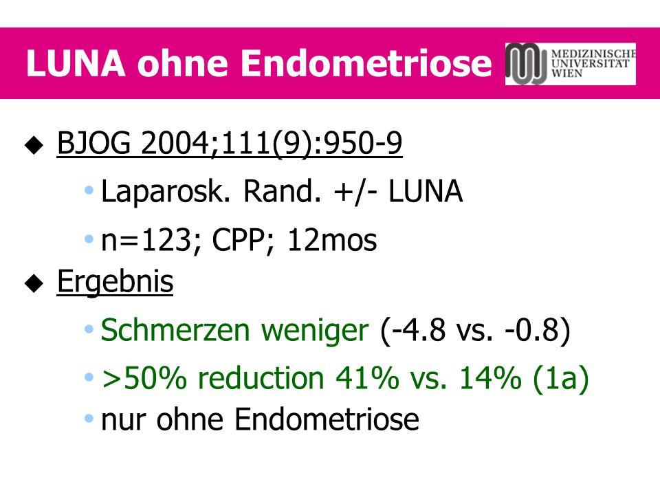 LUNA ohne Endometriose  BJOG 2004;111(9):950-9  Laparosk. Rand. +/- LUNA  n=123; CPP; 12mos  Ergebnis  Schmerzen weniger (-4.8 vs. -0.8)  >50% r