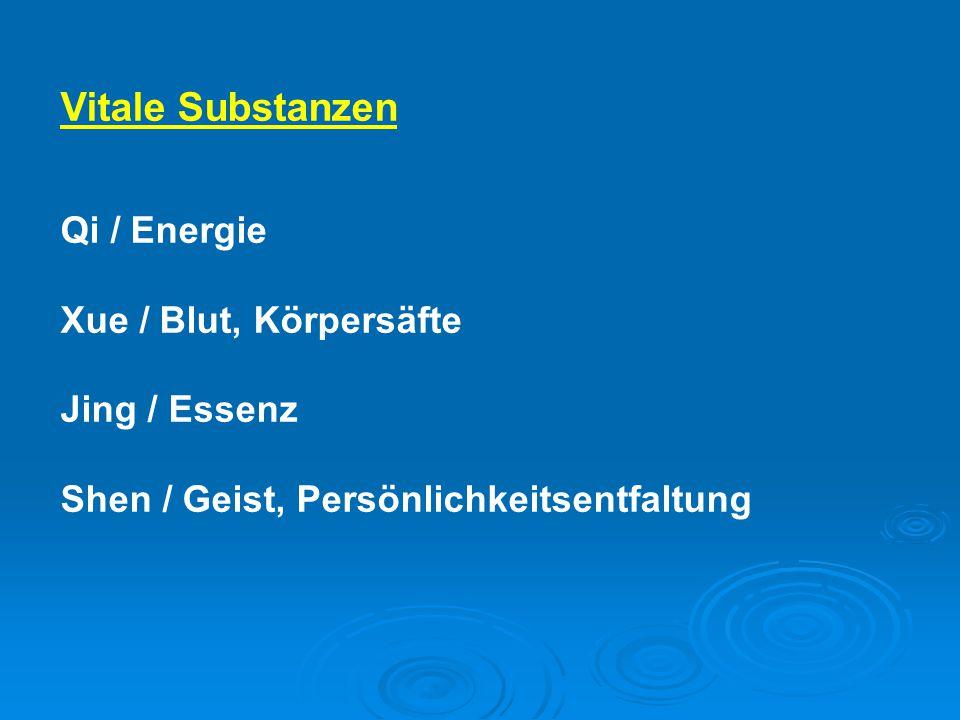 Vitale Substanzen Qi / Energie Xue / Blut, Körpersäfte Jing / Essenz Shen / Geist, Persönlichkeitsentfaltung