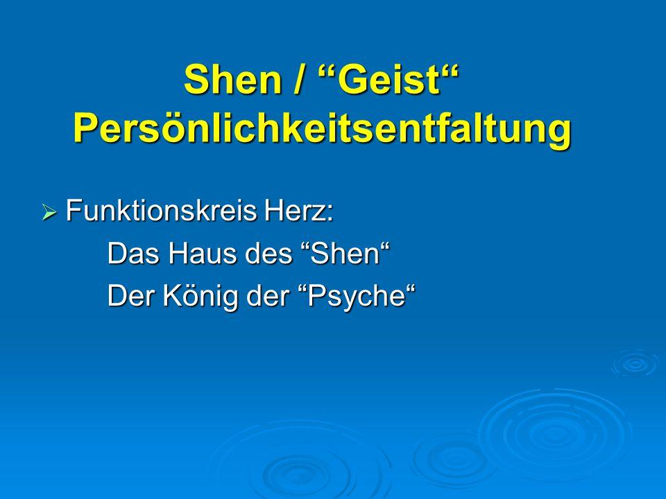 """Shen / """"Geist"""" Persönlichkeitsentfaltung  Funktionskreis Herz: Das Haus des """"Shen"""" Der König der """"Psyche"""""""
