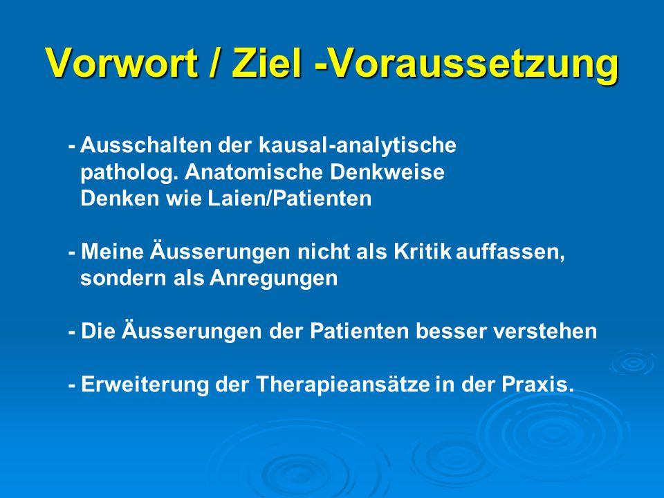 Vorwort / Ziel -Voraussetzung - Ausschalten der kausal-analytische patholog. Anatomische Denkweise Denken wie Laien/Patienten - Meine Äusserungen nich