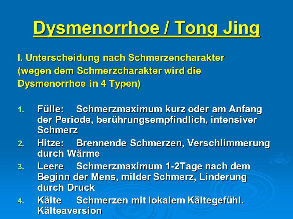 Dysmenorrhoe / Tong Jing I. Unterscheidung nach Schmerzencharakter (wegen dem Schmerzcharakter wird die Dysmenorrhoe in 4 Typen) 1. Fülle:Schmerzmaxim