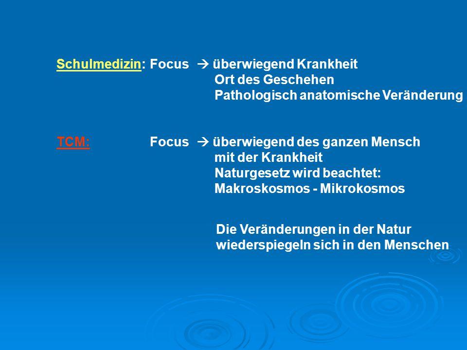 Schulmedizin:Focus  überwiegend Krankheit Ort des Geschehen Pathologisch anatomische Veränderung TCM:Focus  überwiegend des ganzen Mensch mit der Kr