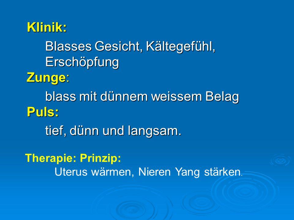 Klinik: Blasses Gesicht, Kältegefühl, Erschöpfung Zunge: blass mit dünnem weissem Belag Puls: tief, dünn und langsam. Therapie: Prinzip: Uterus wärmen