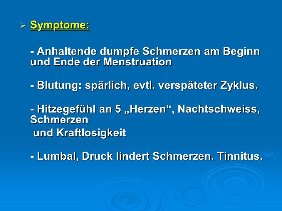  Symptome: - Anhaltende dumpfe Schmerzen am Beginn und Ende der Menstruation - Blutung: spärlich, evtl. verspäteter Zyklus. - Blutung: spärlich, evtl