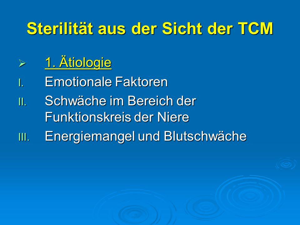 Sterilität aus der Sicht der TCM  1. Ätiologie I. Emotionale Faktoren II. Schwäche im Bereich der Funktionskreis der Niere III. Energiemangel und Blu