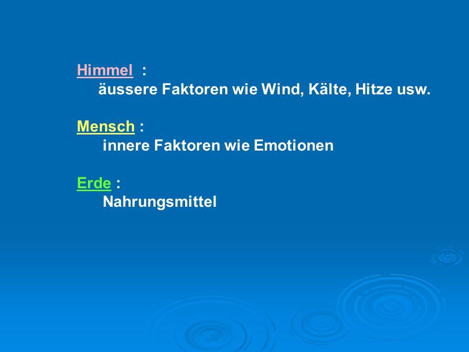 Himmel : äussere Faktoren wie Wind, Kälte, Hitze usw. Mensch : innere Faktoren wie Emotionen Erde : Nahrungsmittel