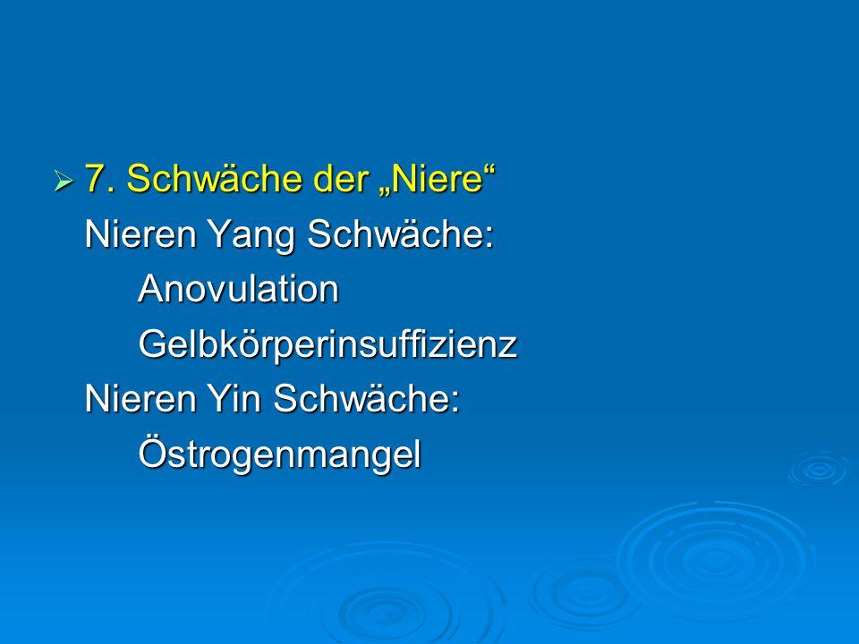 """ 7. Schwäche der """"Niere"""" Nieren Yang Schwäche: AnovulationGelbkörperinsuffizienz Nieren Yin Schwäche: Östrogenmangel"""