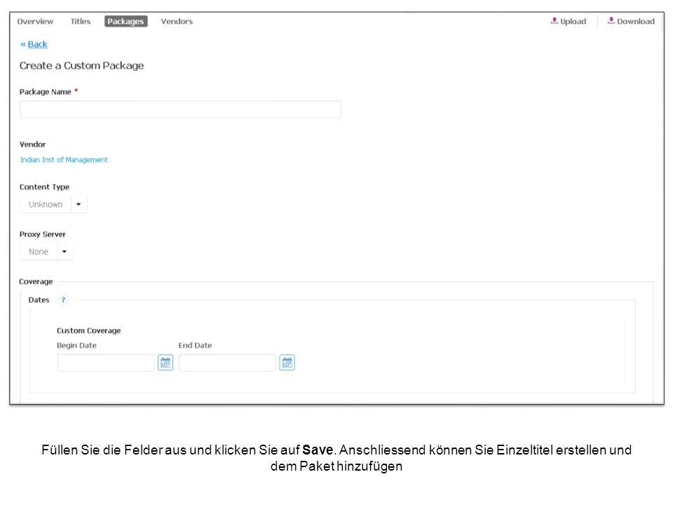 Gehen Sie dazu zur Titelansicht (oben links) und klicken Sie dann auf Create Custom Ressource.
