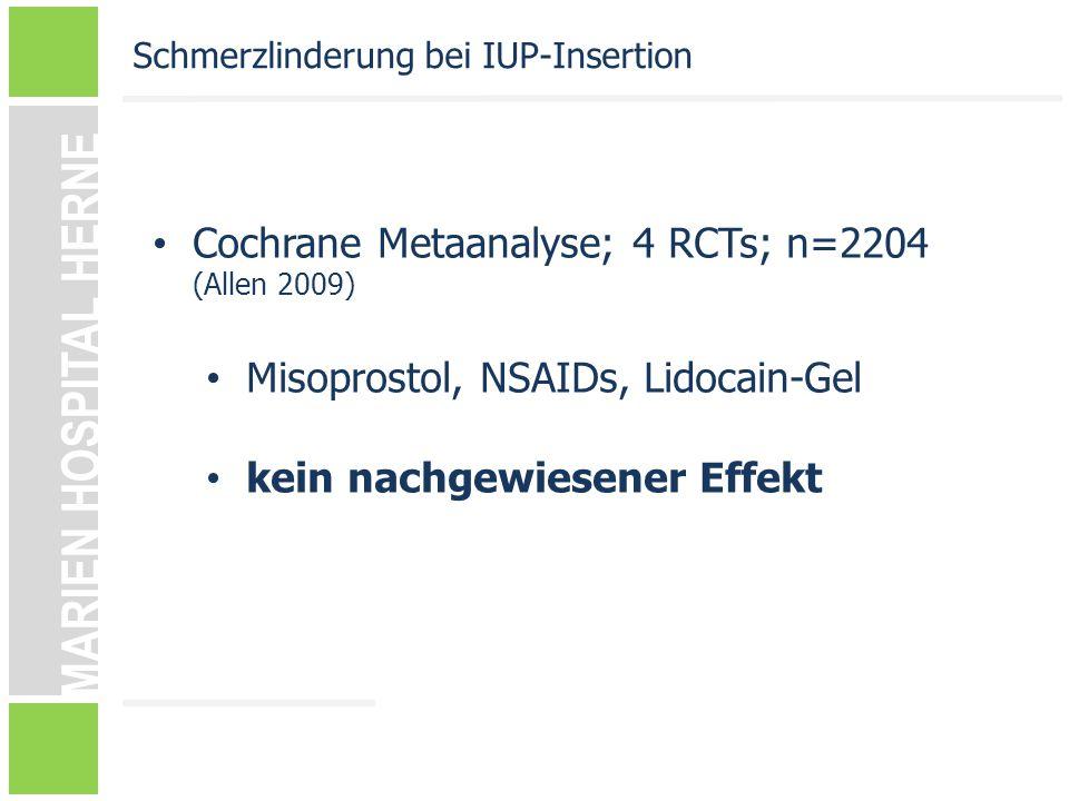 MARIEN HOSPITAL HERNE Cochrane Metaanalyse; 4 RCTs; n=2204 (Allen 2009) Misoprostol, NSAIDs, Lidocain-Gel kein nachgewiesener Effekt Schmerzlinderung