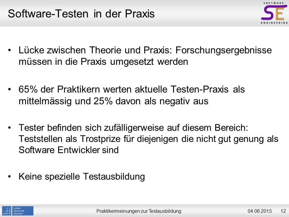 Praktikermeinungen zur Testausbildung1204.06.2015 Software-Testen in der Praxis Lücke zwischen Theorie und Praxis: Forschungsergebnisse müssen in die Praxis umgesetzt werden 65% der Praktikern werten aktuelle Testen-Praxis als mittelmässig und 25% davon als negativ aus Tester befinden sich zufälligerweise auf diesem Bereich: Teststellen als Trostprize für diejenigen die nicht gut genung als Software Entwickler sind Keine spezielle Testausbildung