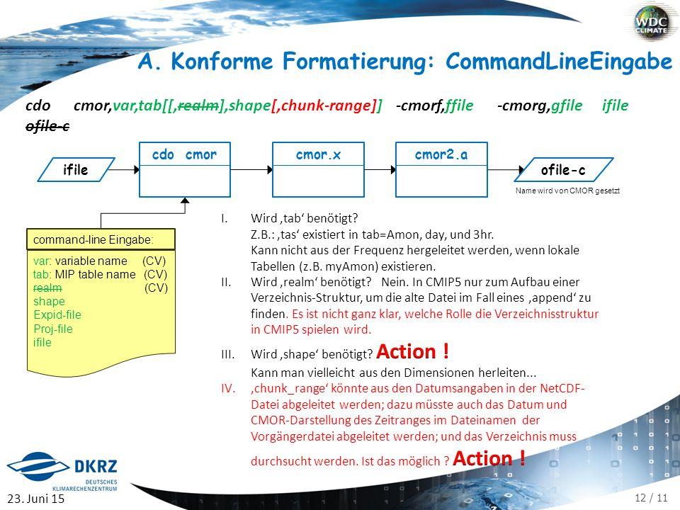 12 / 11 A.Konforme Formatierung: CommandLineEingabe cdo cmor,var,tab[[,realm],shape[,chunk-range]] -cmorf,ffile -cmorg,gfile ifile ofile-c cdo cmor ifile cmor.xcmor2.a ofile-c var: variable name (CV) tab: MIP table name (CV) realm (CV) shape Expid-file Proj-file ifile command-line Eingabe: 23.