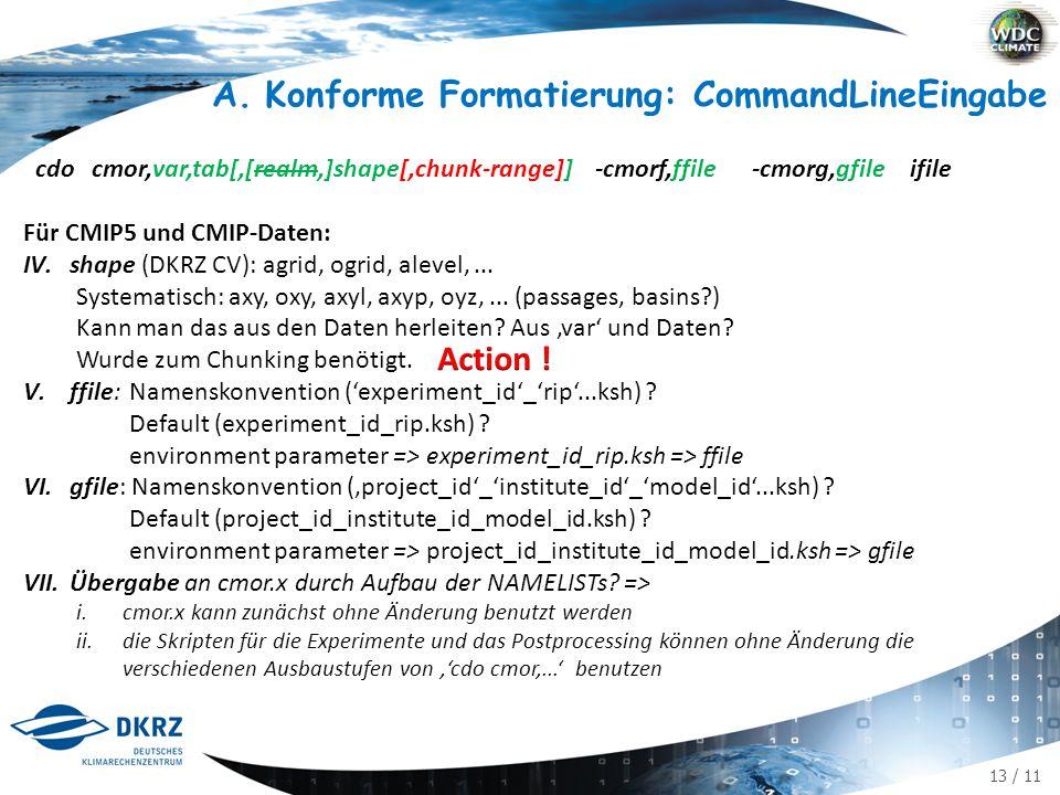 13 / 11 cdo cmor,var,tab[,[realm,]shape[,chunk-range]] -cmorf,ffile -cmorg,gfile ifile Für CMIP5 und CMIP-Daten: IV.shape (DKRZ CV): agrid, ogrid, alevel,...