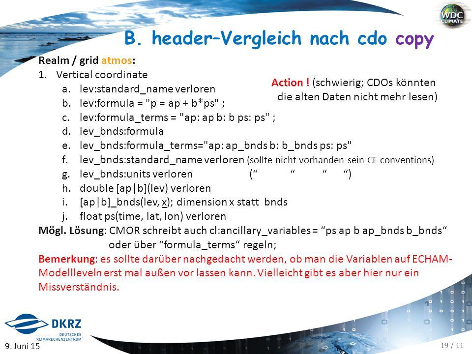 19 / 11 B. header–Vergleich nach cdo copy Realm / grid atmos: 1.Vertical coordinate a.lev:standard_name verloren b.lev:formula =