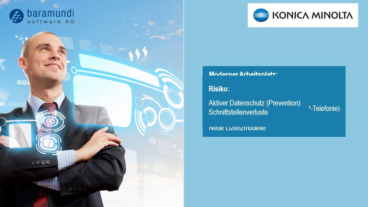 Moderner Arbeitsplatz: Neue Technik Neue Betriebssysteme Ermöglicht andere Arbeitsweisen (IP-Telefonie) Neue Möglichkeiten Neue Lizenzmodelle Managementauswirkung: Unterschiedliche Plattformen Unterschiedliche Lizenzmodelle Breiteres Know-how nötig Risiko: Aktiver Datenschutz (Prevention) Schnittstellenverluste