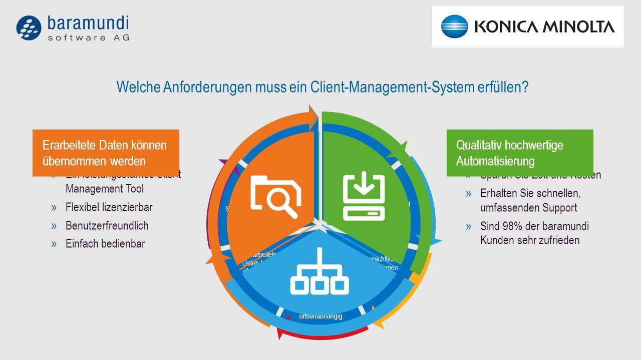 VERNETZENWIEDERHERSTELLENABSICHERNINVENTARISIEREN MANAGEN VERTEILEN INSTALLIEREN VERNETZENWIEDERHERSTELLENABSICHERNINVENTARISIEREN MANAGEN VERTEILENINSTALLIEREN Betriebssysteme schnell und original installieren baramundi OS-Install automatische Installation von Microsoft Betriebssystemen baramundi OS-Cloning schnelle Installation identischer Konfigurationen mittels Cloning VERNETZENWIEDERHERSTELLENABSICHERNINVENTARISIEREN MANAGEN VERTEILENINSTALLIEREN Software einfach verteilen baramundi Deploy clevere Installation und Verteilung von Software mit flexiblen Installationsverfahren baramundi Automate schnelle und sichere Automatisierung beliebiger Abläufe baramundi Package Studio schnelle und präzise Repackage-Lösung zur Umstellung von Firmensoftware auf Windows Installer VERNETZENWIEDERHERSTELLENABSICHERNINVENTARISIEREN MANAGEN VERTEILENINSTALLIEREN IT clever managen baramundi Managed Software Updates und Sicherheitspatches vieler Applikationen als verteilfertig getestete Softwarepakete baramundi Mobile Devices erweitert die baramundi Management Suite um die automatisierte Verwaltung mobiler Endgeräte baramundi Remote Control verbindet direkt auf den Desktop von Rechnern im Netzwerk zur schnellen remoten Unterstützung baramundi Energy Management ermittelt den Energieverbrauch von Rechnern und Monitoren im Netzwerk und unterstützt, Energiekosten nachhaltig zu senken VERNETZENWIEDERHERSTELLENABSICHERNINVENTARISIEREN MANAGEN VERTEILENINSTALLIEREN Hard- und Software inventarisieren und verwalten baramundi Inventory perfekter Überblick über Hardware, Software, Lizenzen und beliebige Daten aus dem Unternehmen baramundi AUT findet ungenutzte Software und hilft, Lizenzkosten zu sparen VERNETZENWIEDERHERSTELLENABSICHERNINVENTARISIEREN MANAGEN VERTEILENINSTALLIEREN Software automatisch aktualisieren baramundi Patch Management automatische und manuelle, regelbasierte, sichere Patch-Verteilung baramundi Compliance Management automatisierter Scan von PCs und Servern auf Schwachste
