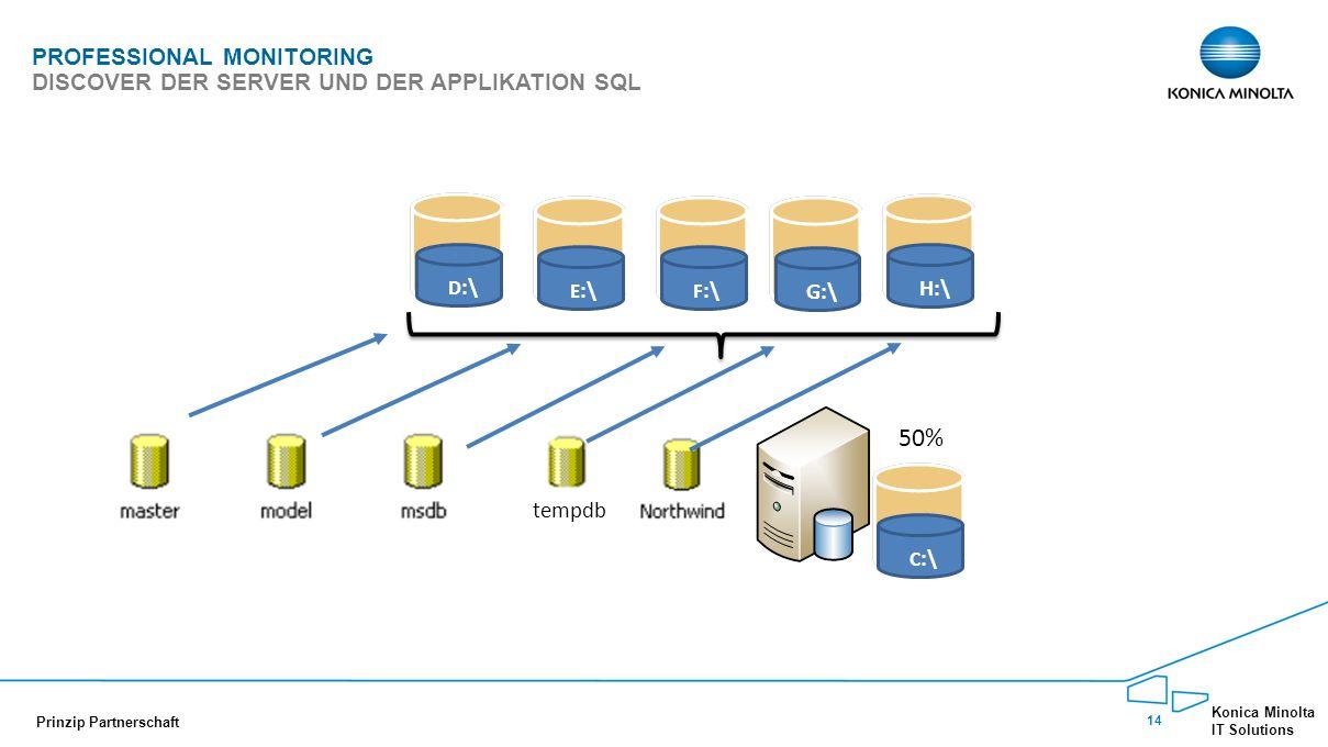 14 Konica Minolta IT Solutions Prinzip Partnerschaft PROFESSIONAL MONITORING DISCOVER DER SERVER UND DER APPLIKATION SQL 50% C :\ D :\ E :\ F :\G:\H:\ tempdb