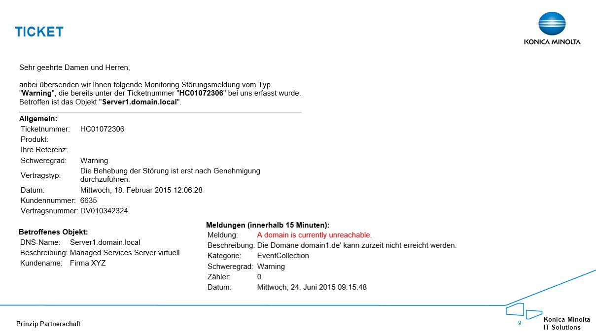 20 Konica Minolta IT Solutions Prinzip Partnerschaft 20 Professional Monitoring Reporting