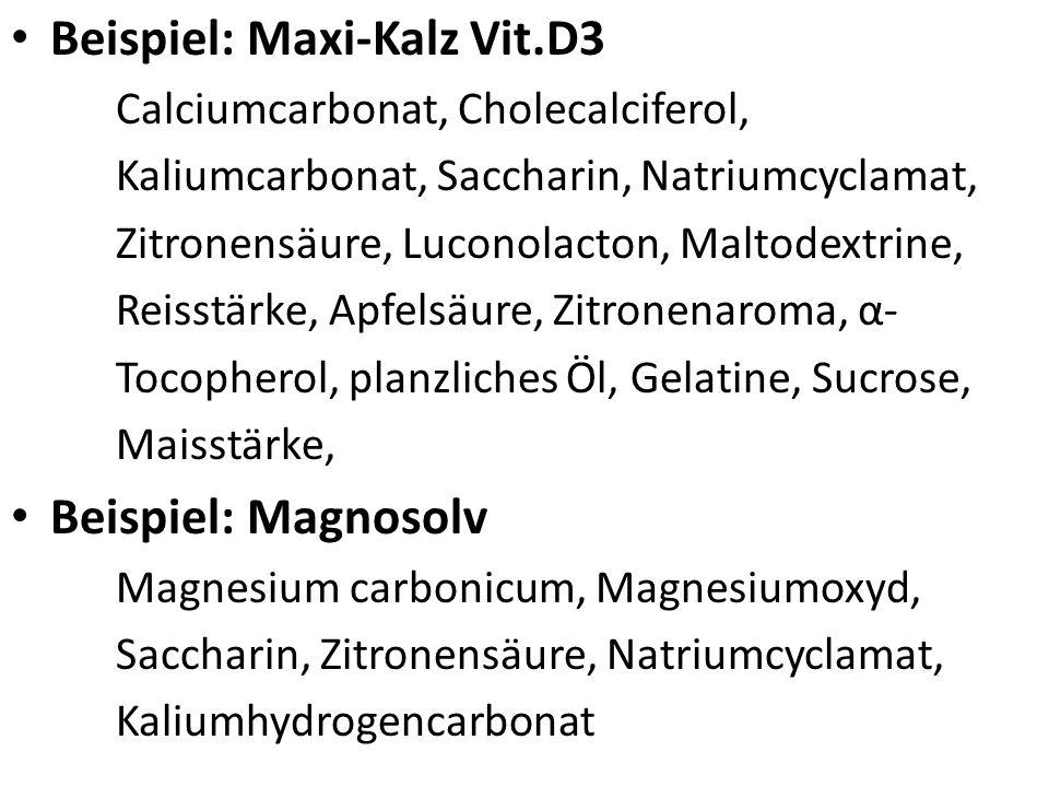 Konservierungs-, Hilfs- und Zusatzstoffe Konservierungsmittel: Oxidationsempfindliche Substanzen werden durch Zusatz von Stabilisatoren (Butylhydroxya