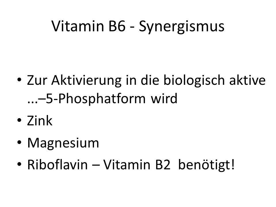 Wirken bei 200 metabolischen Prozessen mit Zentrale Rolle im Aminosäurestoffwechsel Zentrale Rolle bei Neurotransmittern Vitamin B6 - Funktion