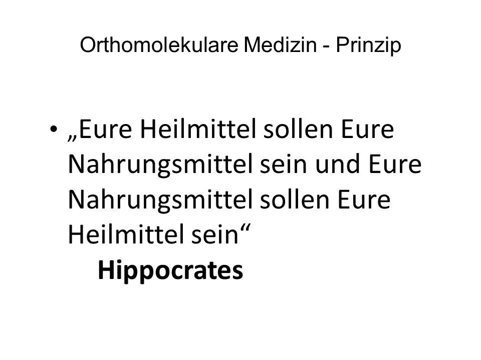"Orthomolekulare Medizin - Prinzip "" Eure Heilmittel sollen Eure Nahrungsmittel sein und Eure Nahrungsmittel sollen Eure Heilmittel sein Hippocrates"
