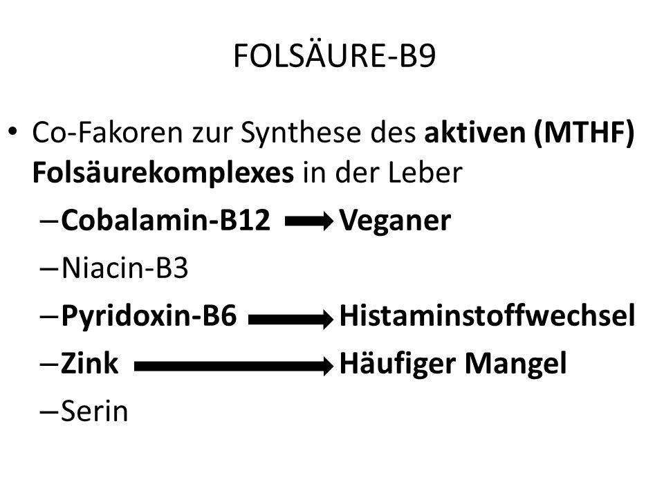 FOLSÄURE-B9 wasserlösliches, sehr unbeständiges Vitamin häufiger Mangel in Industrieländern sehr gute Dünndarmresorption